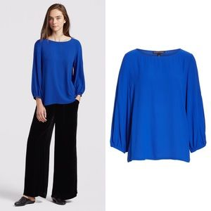 EILEEN FISHER Silk Georgette Crepe Top Blue Blouse